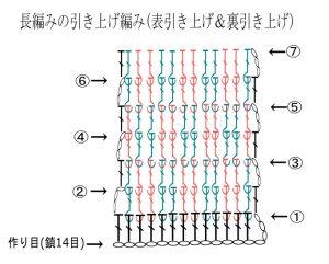 長編みの引き上げ編みの編み図