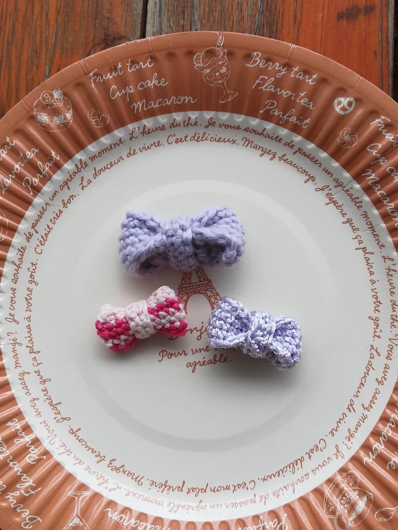 ダイソー刺繍糸パール調カラーで編む「リボンのモチーフ」の作り方