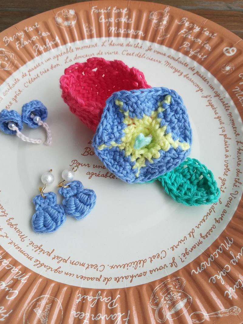 刺繍糸でかぎ針編み「あさがお」の編み方