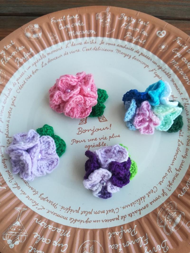 刺繍糸でかぎ針編み「あじさいのモチーフ」花数の違い