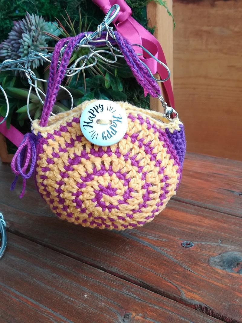 刺繍糸でかぎ針編み「ミニうず巻きバック」の編み方