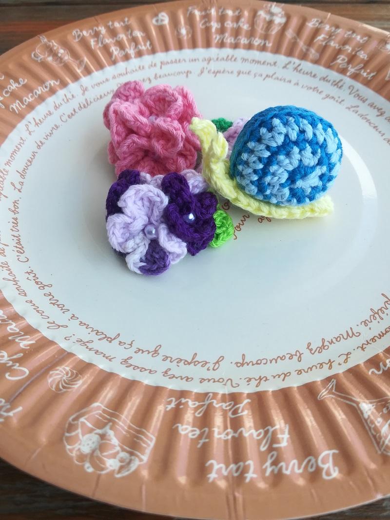刺繍糸でかぎ針編み「かたつむり」の編み方