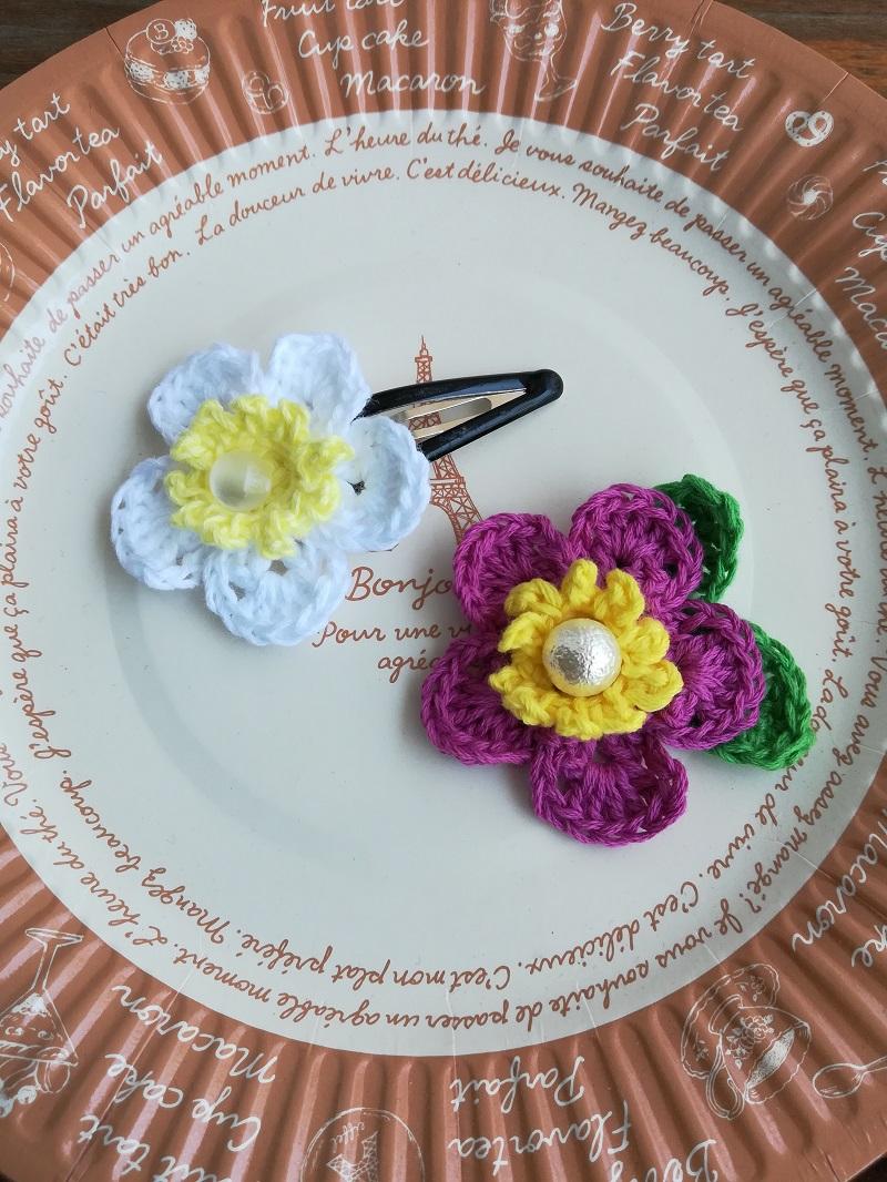 刺繍糸でかぎ針編み「はまなす」の編み方