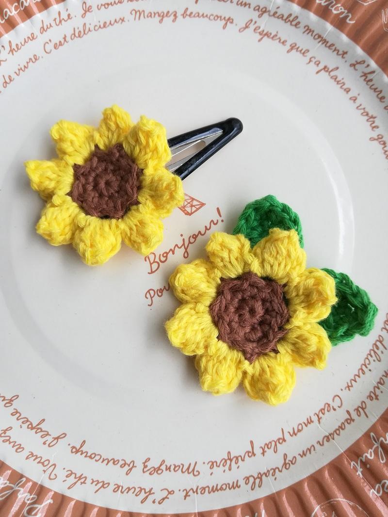刺繍糸でかぎ針編み「ひまわり」の編み方