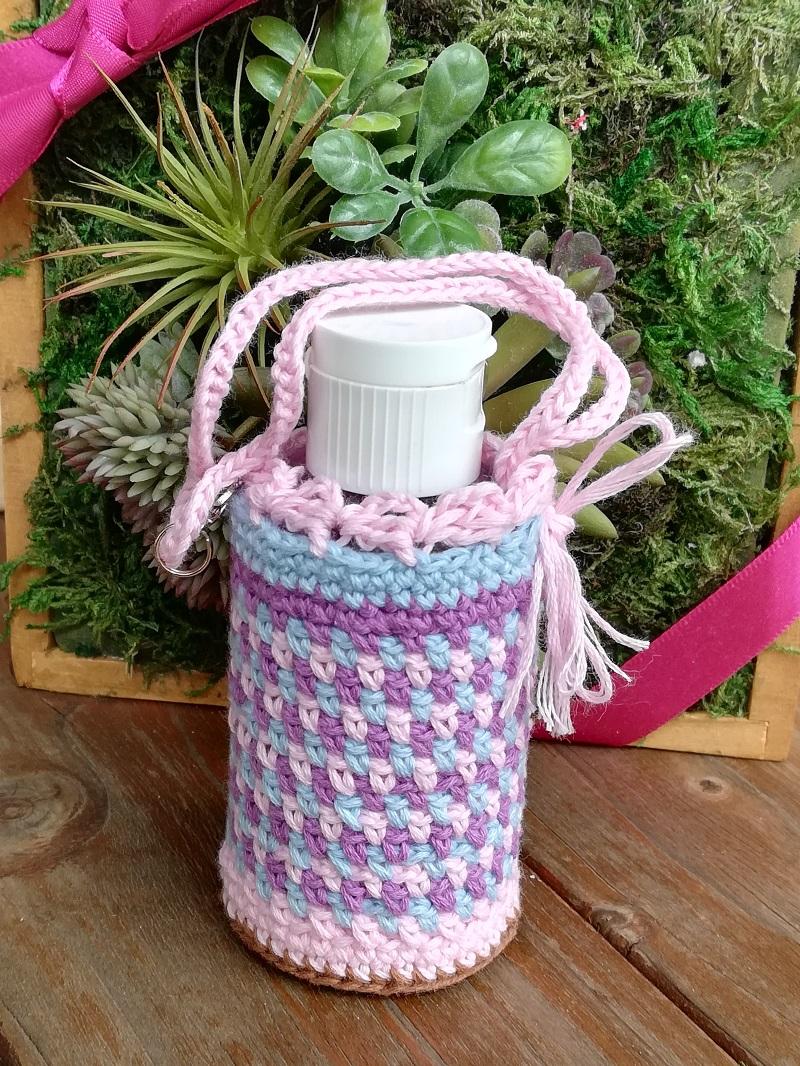 刺繍糸でかぎ針編み「よね編みのハンドジェルケース」の編み方