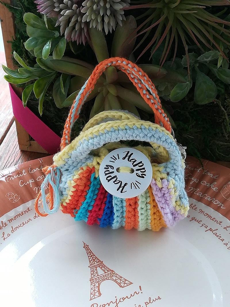 刺繍糸でかぎ針編み「カラフルミニグラニ―バック」の作り方