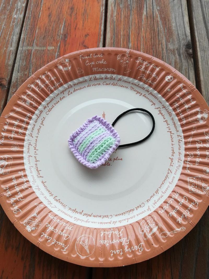 刺繍糸でかぎ針編み「スクエアヘアゴム」の編み方