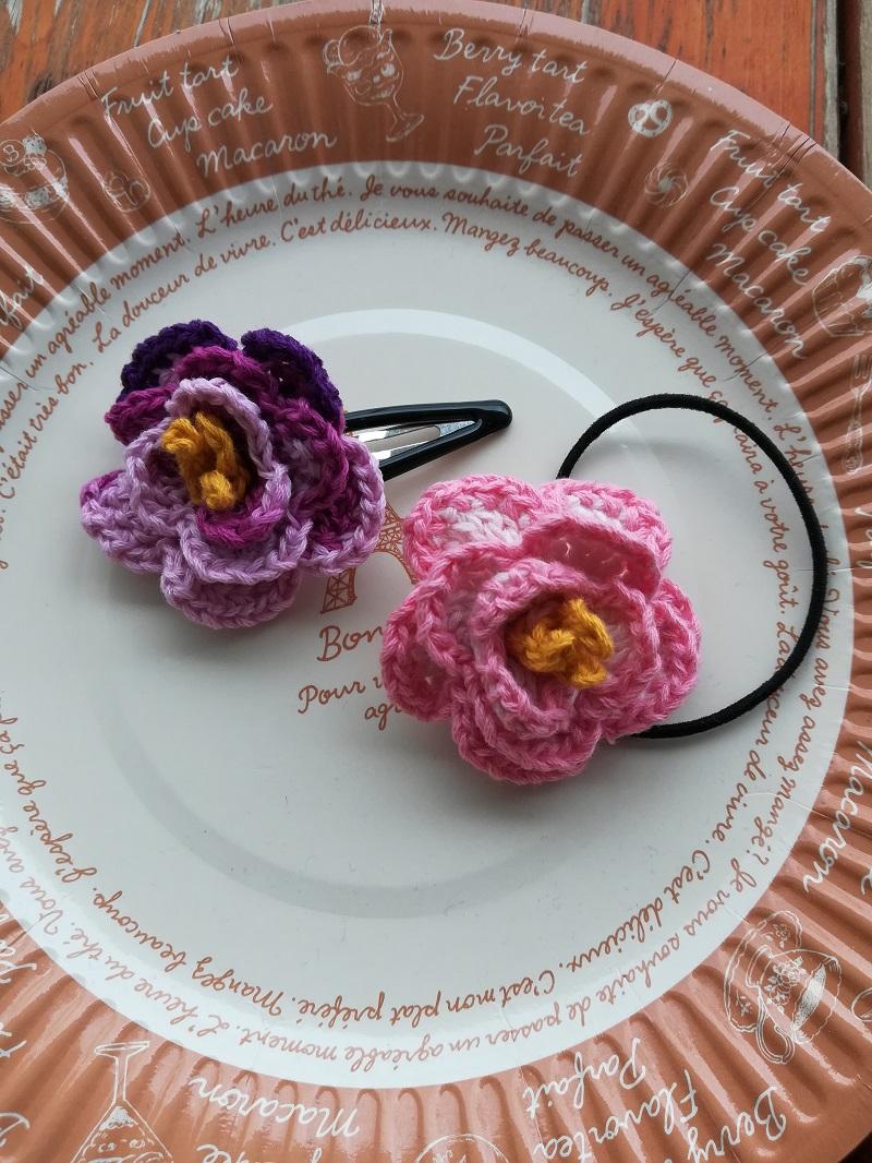 刺繍糸でかぎ針編み「トルコ桔梗の花のヘアゴム」の作り方