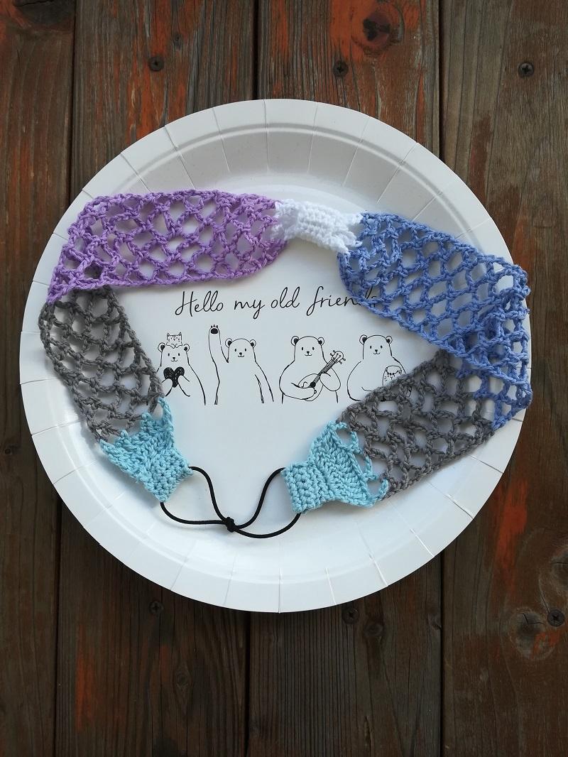 刺繍糸でかぎ針編み「ネット編みのヘアバンド」の編み方