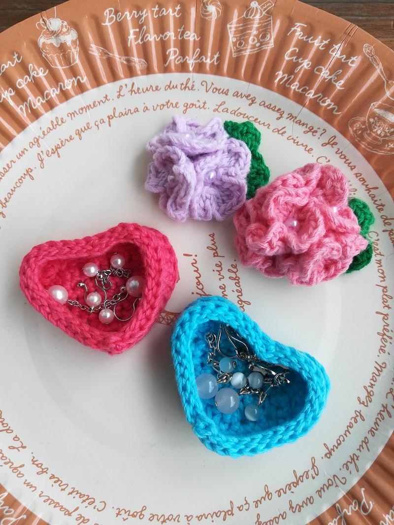 刺繍糸でかぎ針編み「ハートの小物入れ」の編み方