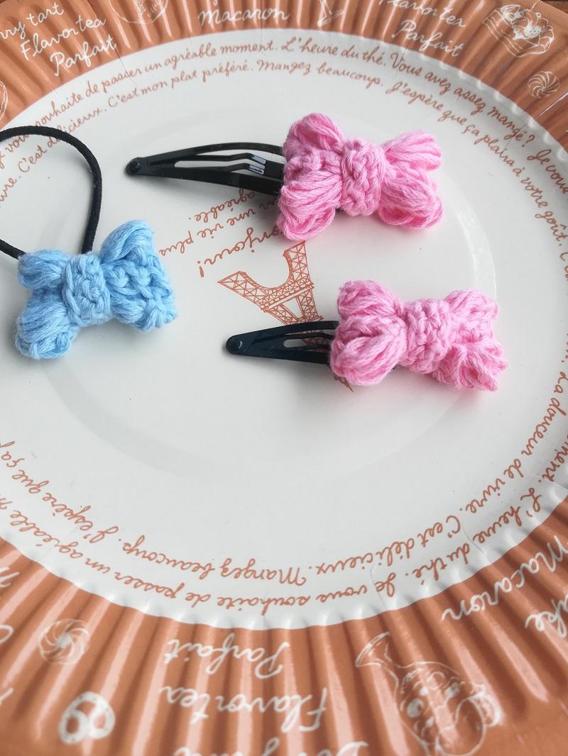 刺繍糸でかぎ針編み「リボンのモチーフ」の編み方