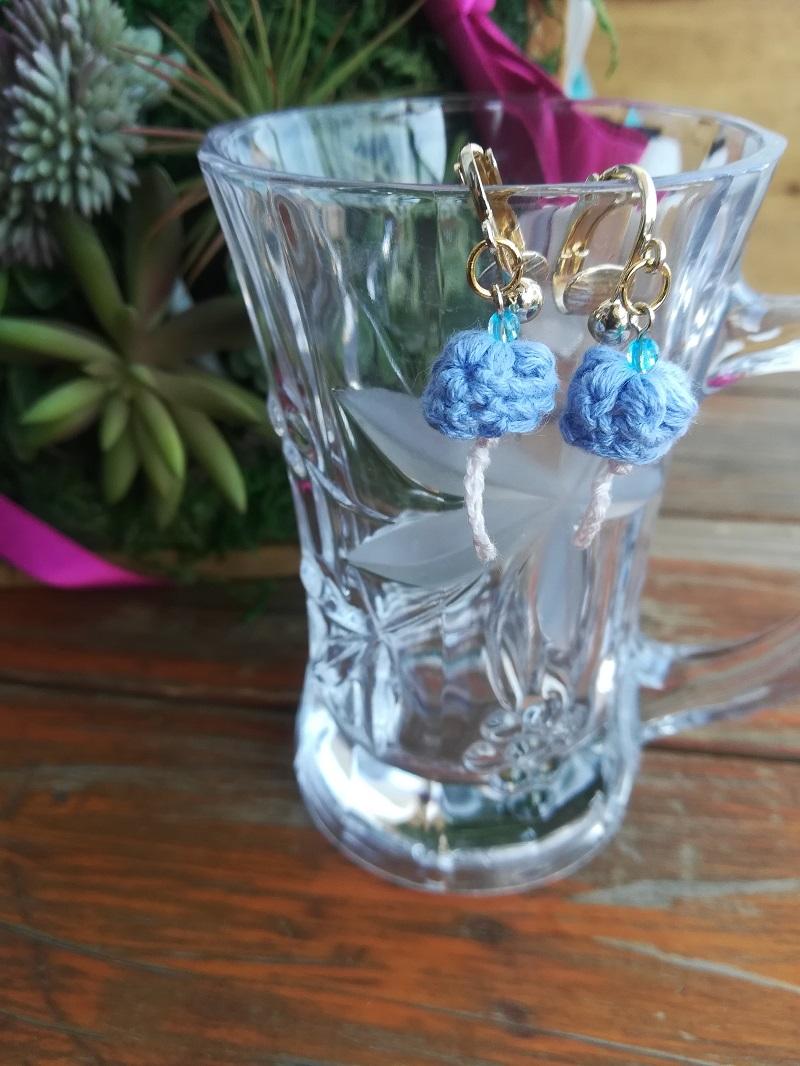 刺繍糸でかぎ針編み「風鈴のイヤリング」の作り方