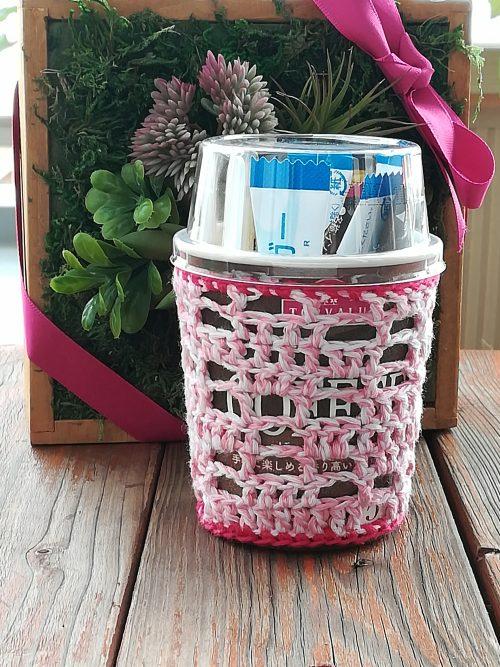 刺繍糸でかぎ針編み「十字模様方眼編みのボトルカバー」の編み方