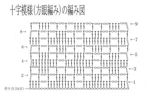 十字模様方眼編みの編み図