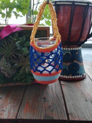 空きビン利用「ネット編みのハンギングカバー」の作り方