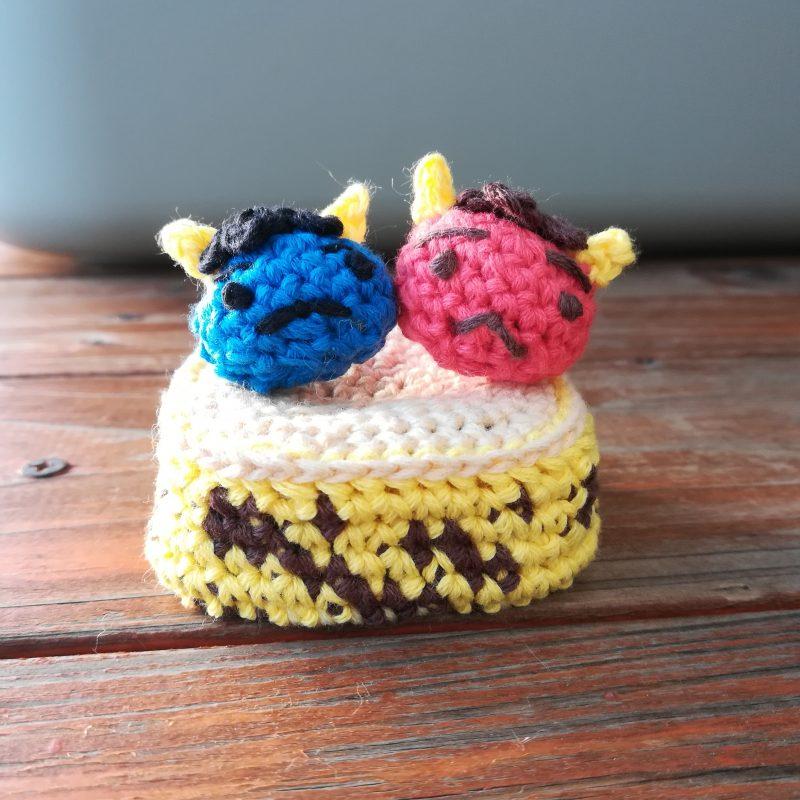 刺繍糸でかぎ針編み「節分飾り「オニ」」の編み方