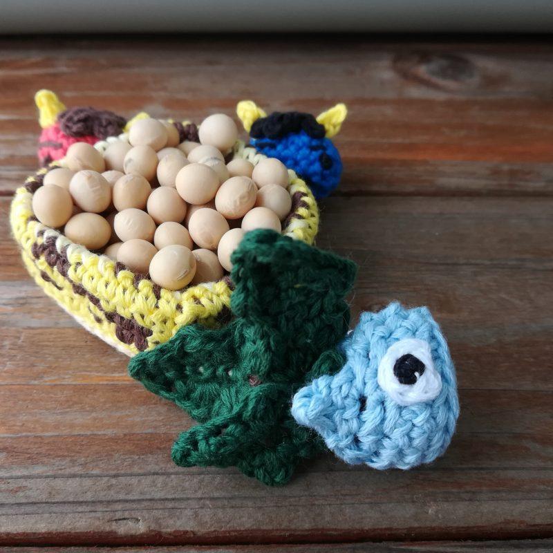 刺繍糸でかぎ針編み「節分飾り「柊鰯(ひいらぎいわし)」」の編み方