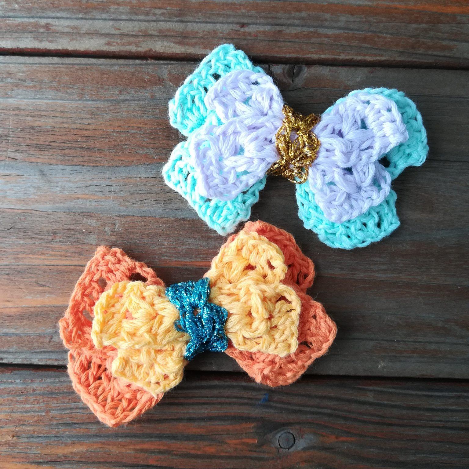 刺繍糸でかぎ針編み「バレンタインデーにも「リボン」」の編み方