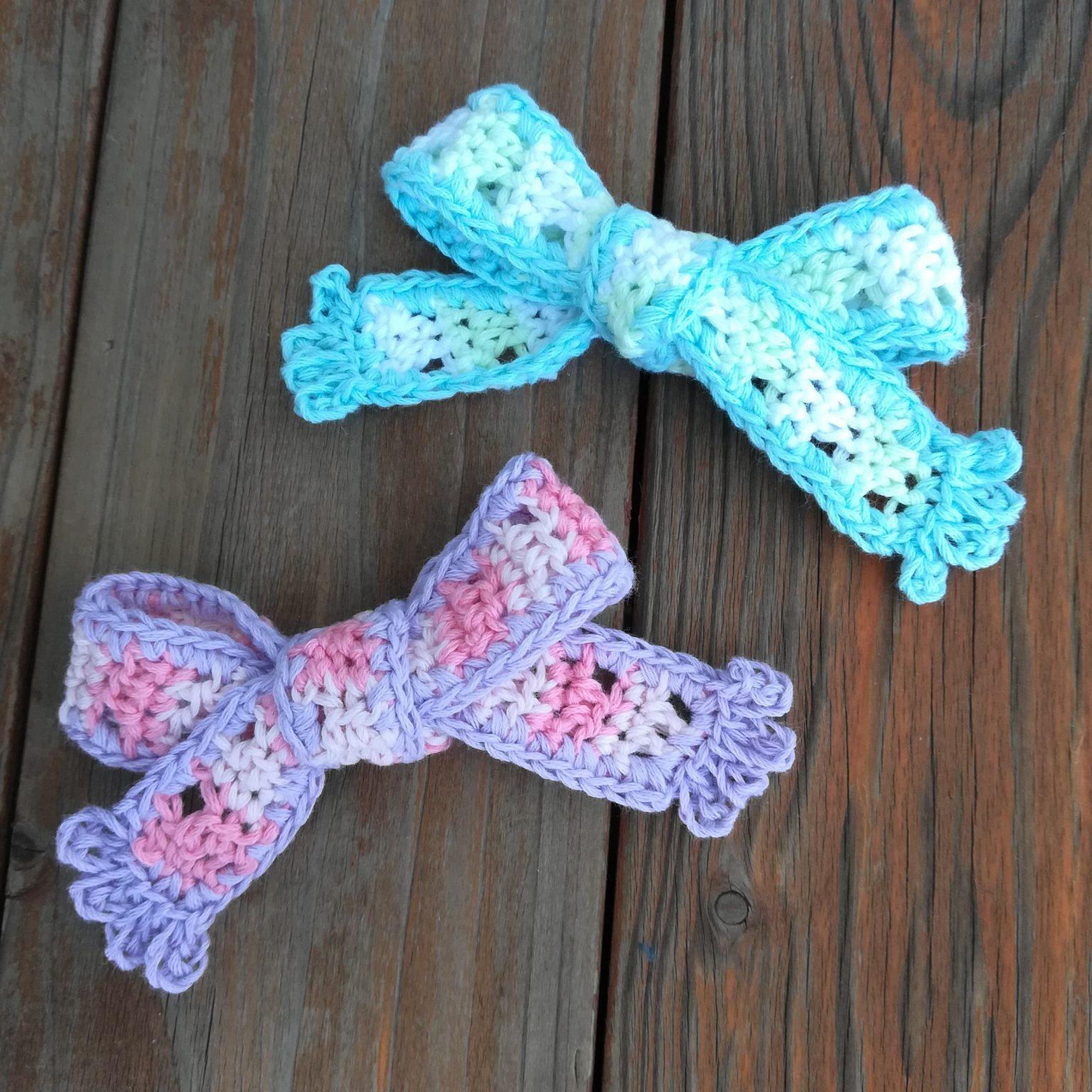 刺繍糸でかぎ針編み「バレンタインデーにも「しましまリボン」」の編み方