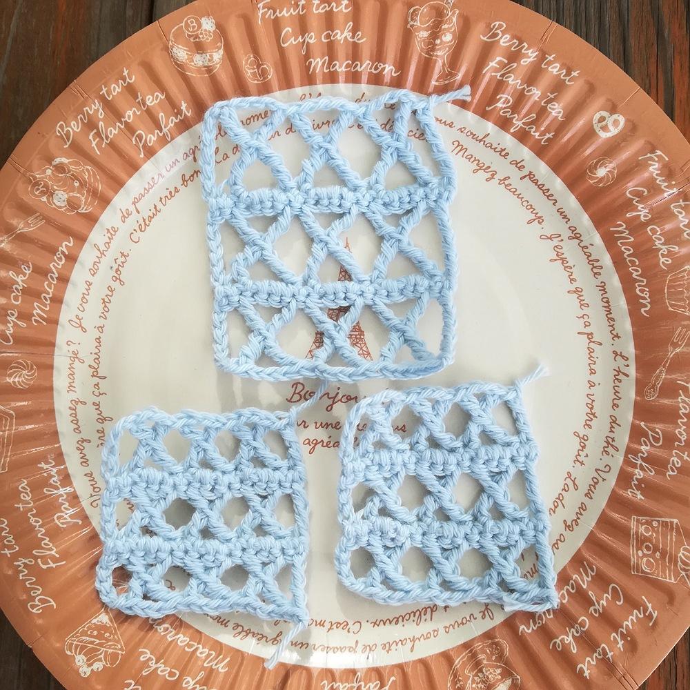 かぎ針編みの模様その9ークロス編みの編み方