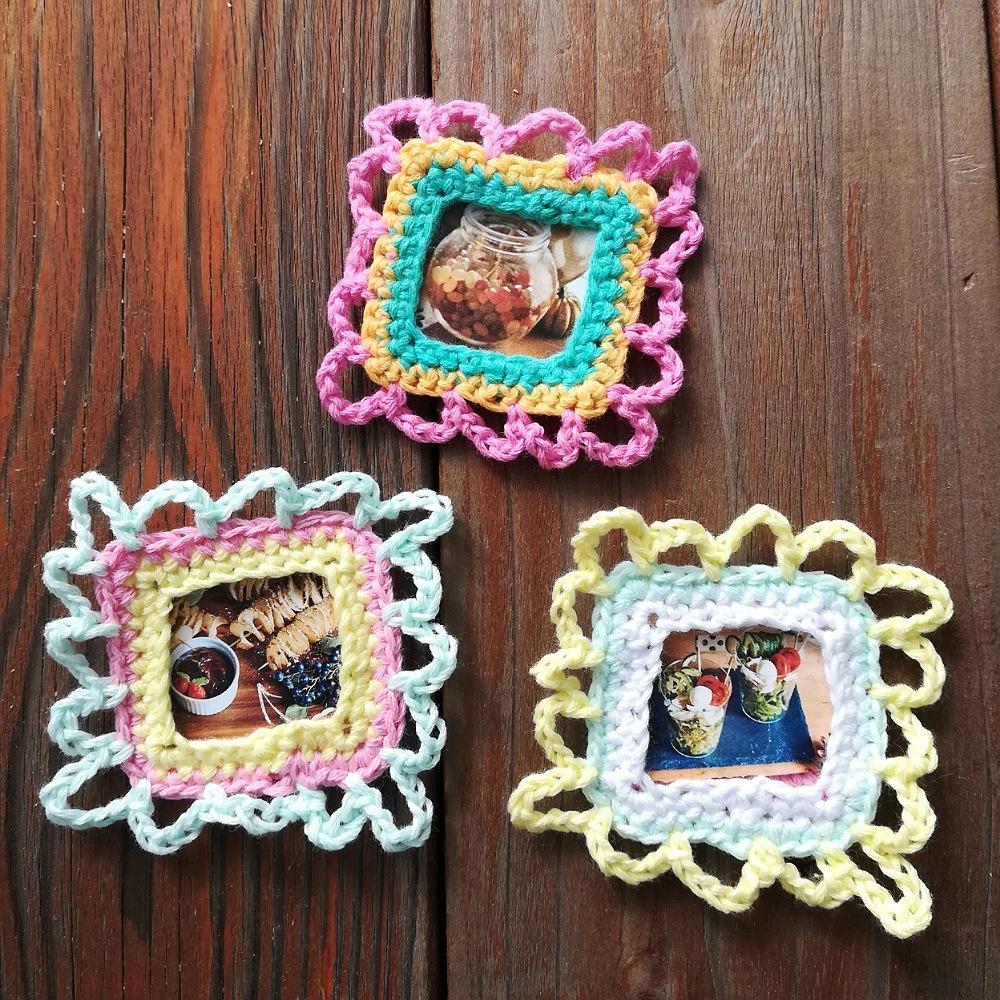 かぎ針編み「お花のフォトフレーム」の編み方