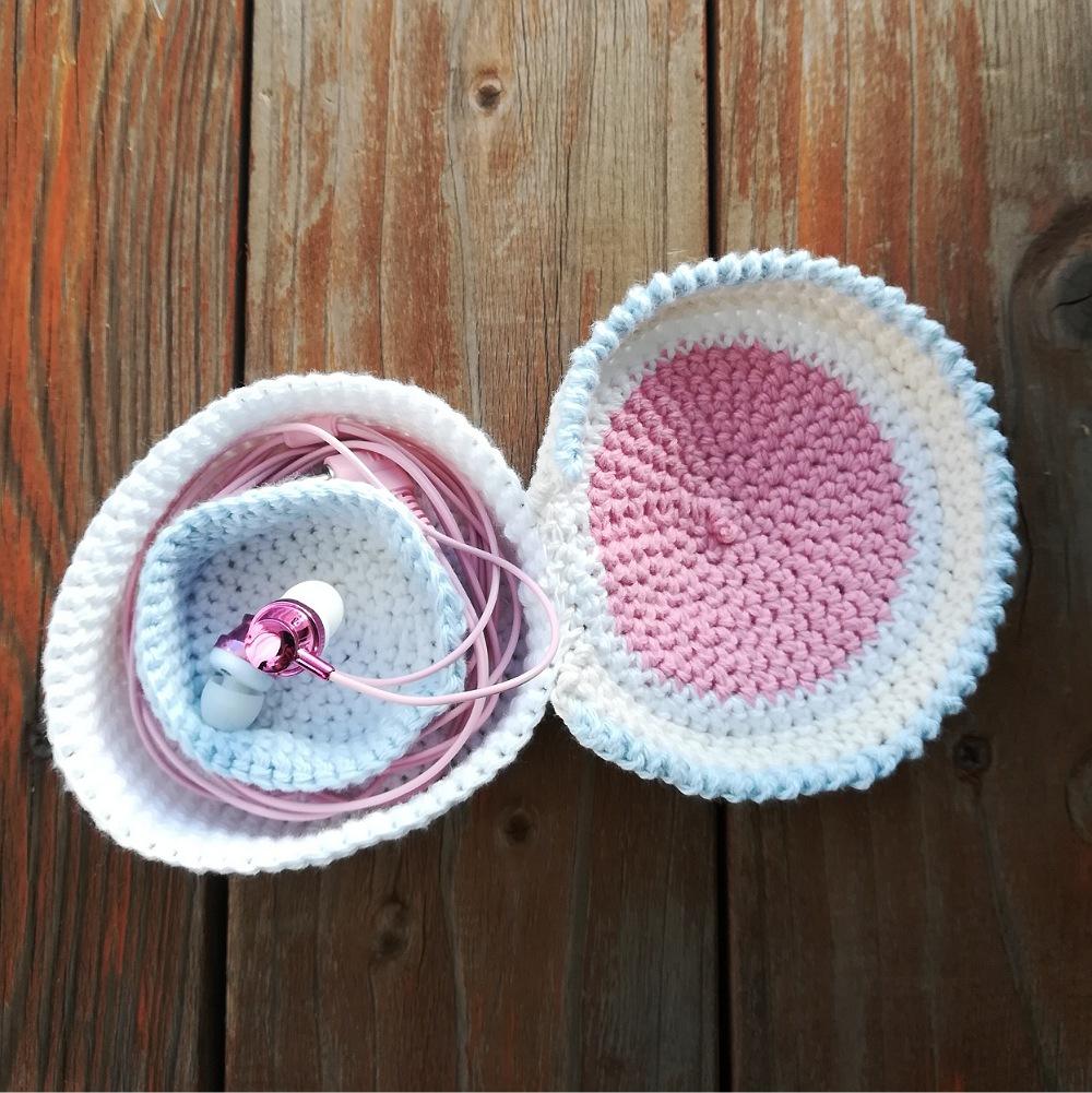 かぎ針編み「イヤホン収納ケース」の編み方