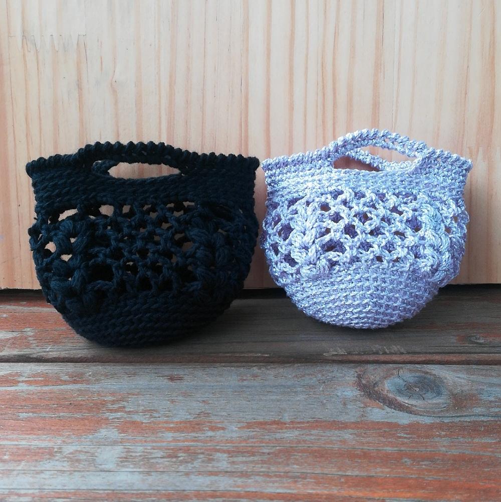 かぎ針編み「ネット編みのミニバッグ」の編み方