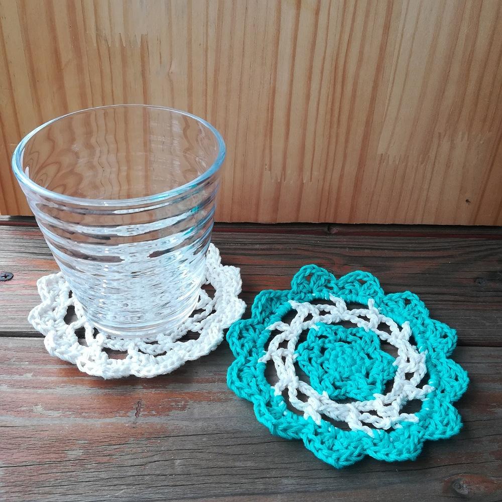 かぎ針編み【お花のようなコースター】編み図と編み方